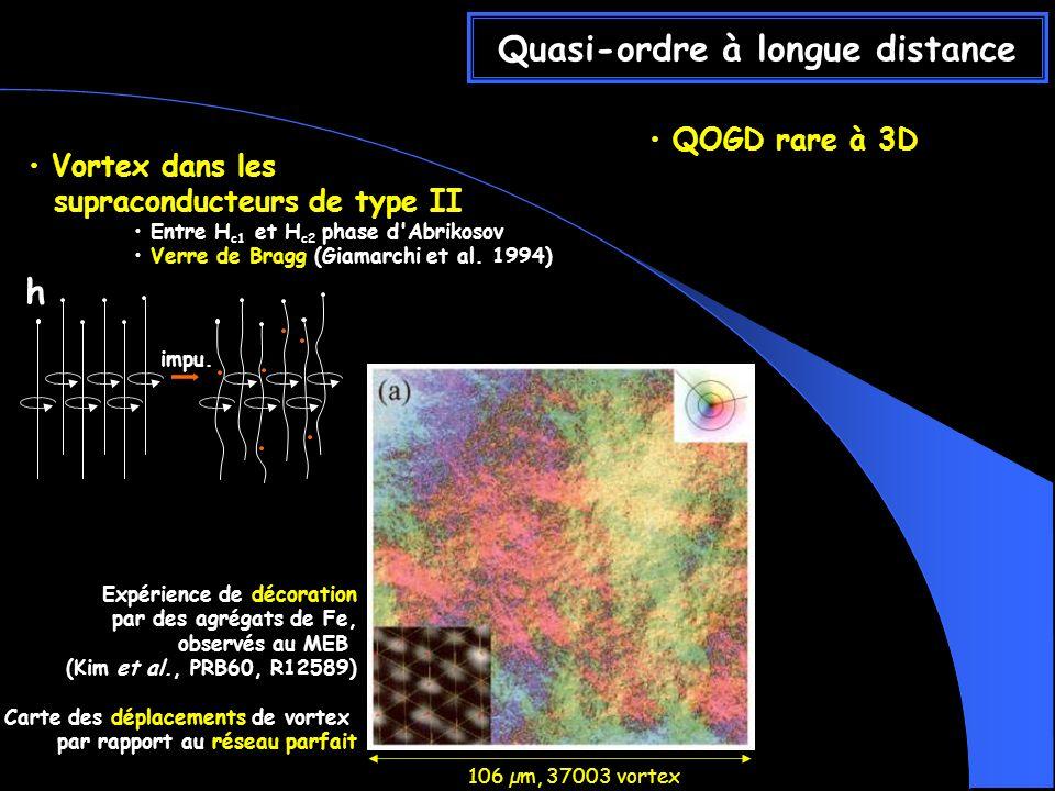 QOGD rare à 3D Quasi-ordre à longue distance Vortex dans les supraconducteurs de type II Entre H c1 et H c2 phase d Abrikosov Verre de Bragg (Giamarchi et al.