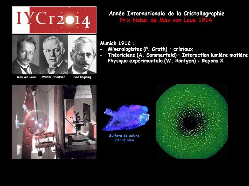 Année Internationale de la Cristallographie Prix Nobel de Max von Laue 1914 Max von Laue Walter Friedrich Paul Knipping Munich 1912 : -Mineralogistes (P.