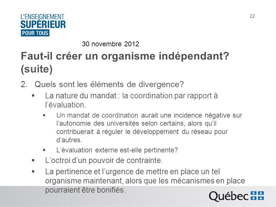 Faut-il créer un organisme indépendant. (suite) 2.Quels sont les éléments de divergence.