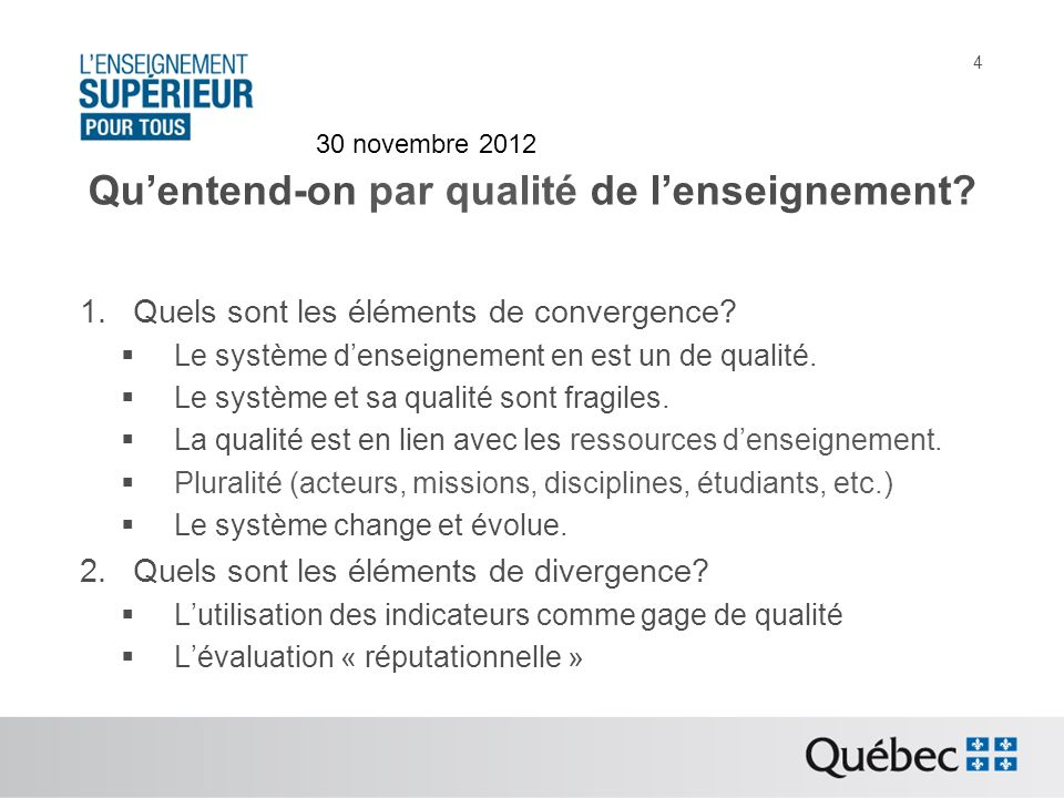 Approches pour parvenir à la définition de la qualité 1.Quels sont les éléments de convergence.