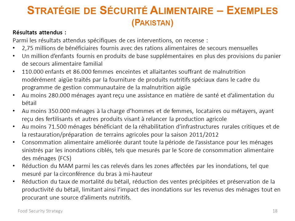 S TRATÉGIE DE S ÉCURITÉ A LIMENTAIRE – E XEMPLES (P AKISTAN ) Food Security Strategy18 Résultats attendus : Parmi les résultats attendus spécifiques d
