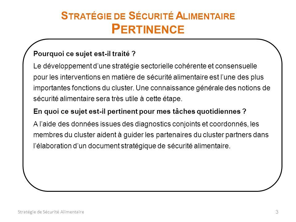 3 S TRATÉGIE DE S ÉCURITÉ A LIMENTAIRE P ERTINENCE Pourquoi ce sujet est-il traité ? Le développement dune stratégie sectorielle cohérente et consensu