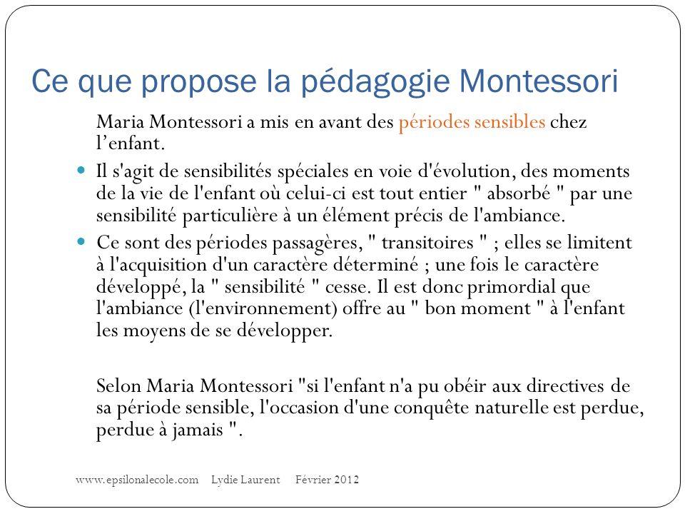 Ce que propose la pédagogie Montessori Maria Montessori a mis en avant des périodes sensibles chez lenfant.
