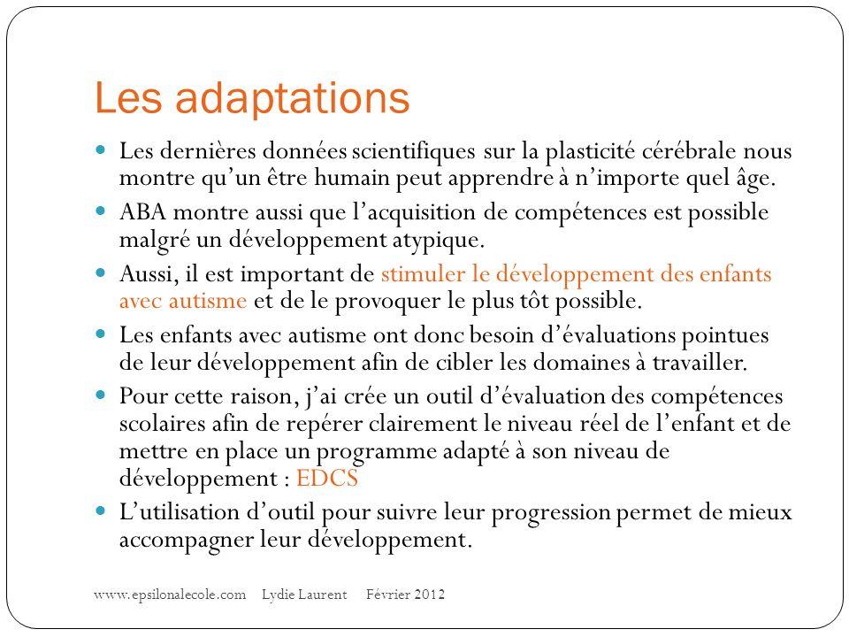 Les adaptations www.epsilonalecole.com Lydie Laurent Février 2012 Les dernières données scientifiques sur la plasticité cérébrale nous montre quun être humain peut apprendre à nimporte quel âge.