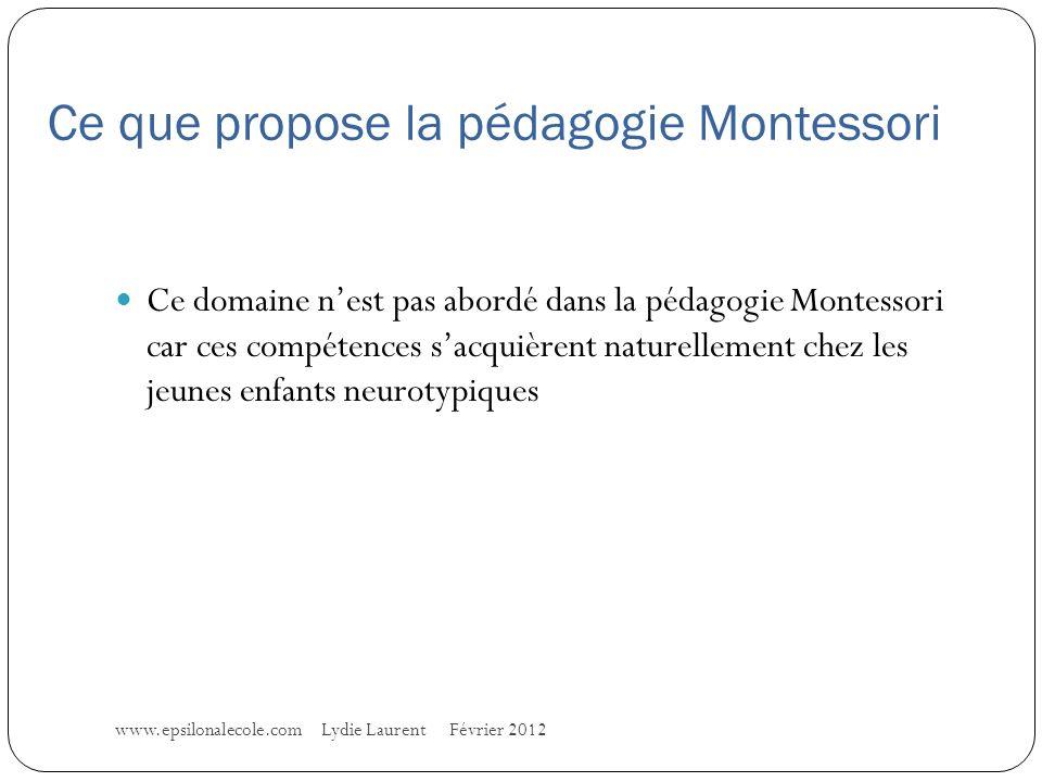 Ce que propose la pédagogie Montessori www.epsilonalecole.com Lydie Laurent Février 2012 Ce domaine nest pas abordé dans la pédagogie Montessori car ces compétences sacquièrent naturellement chez les jeunes enfants neurotypiques