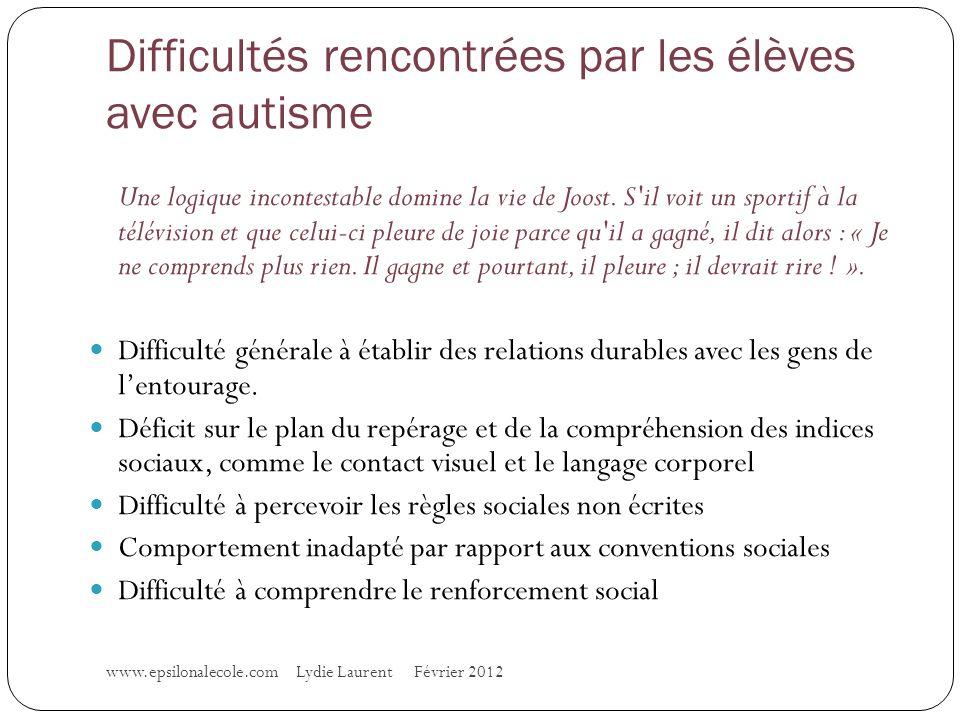 Difficultés rencontrées par les élèves avec autisme www.epsilonalecole.com Lydie Laurent Février 2012 Une logique incontestable domine la vie de Joost.