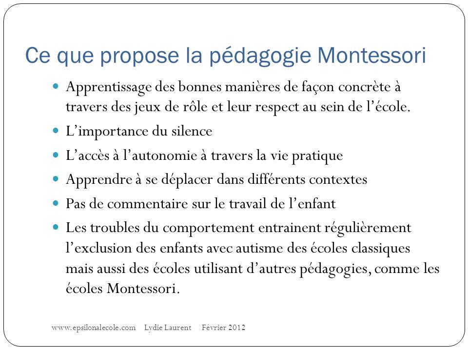 Ce que propose la pédagogie Montessori Apprentissage des bonnes manières de façon concrète à travers des jeux de rôle et leur respect au sein de lécole.