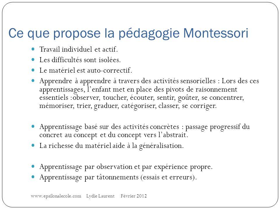 Ce que propose la pédagogie Montessori www.epsilonalecole.com Lydie Laurent Février 2012 Travail individuel et actif.