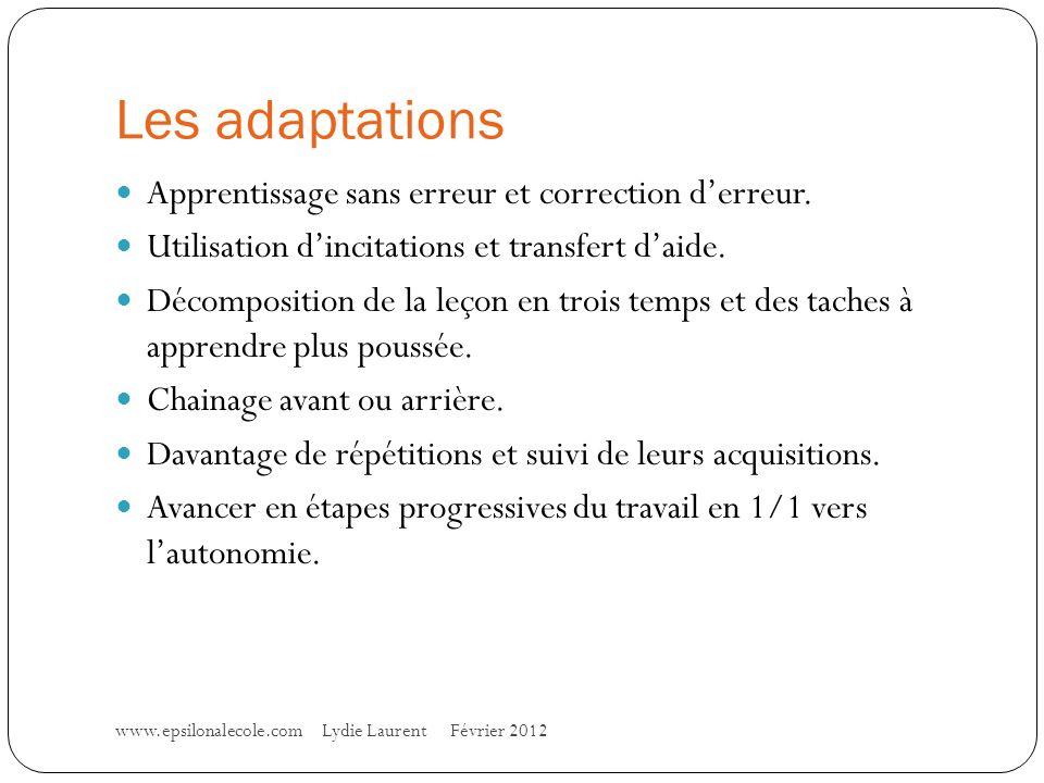 Les adaptations www.epsilonalecole.com Lydie Laurent Février 2012 Apprentissage sans erreur et correction derreur.