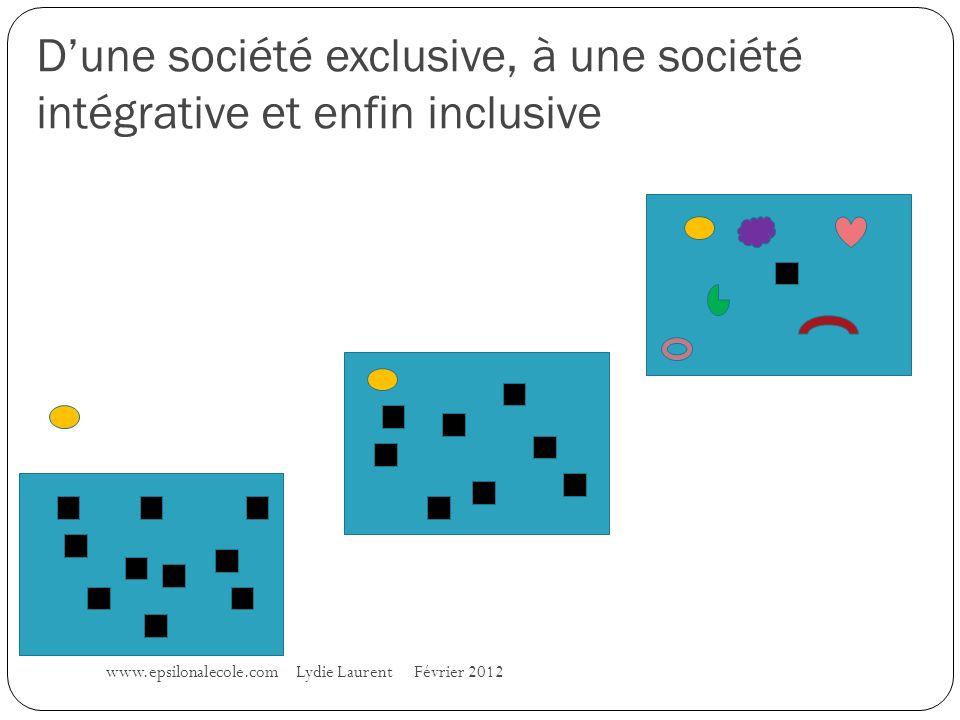 Dune société exclusive, à une société intégrative et enfin inclusive www.epsilonalecole.com Lydie Laurent Février 2012