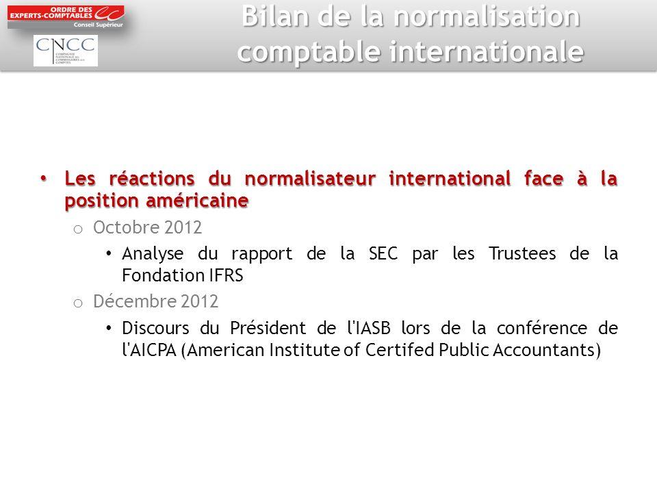 Bilan de la normalisation comptable internationale Les réactions du normalisateur international face à la position américaine Les réactions du normali