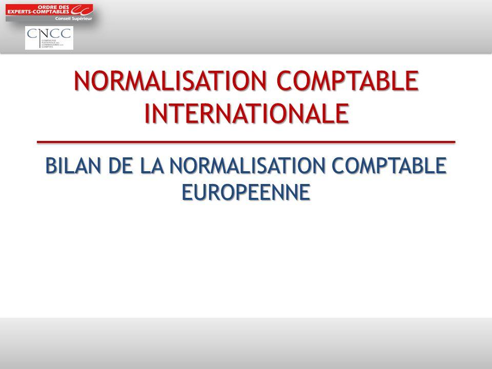 NORMALISATION COMPTABLE INTERNATIONALE BILAN DE LA NORMALISATION COMPTABLE EUROPEENNE