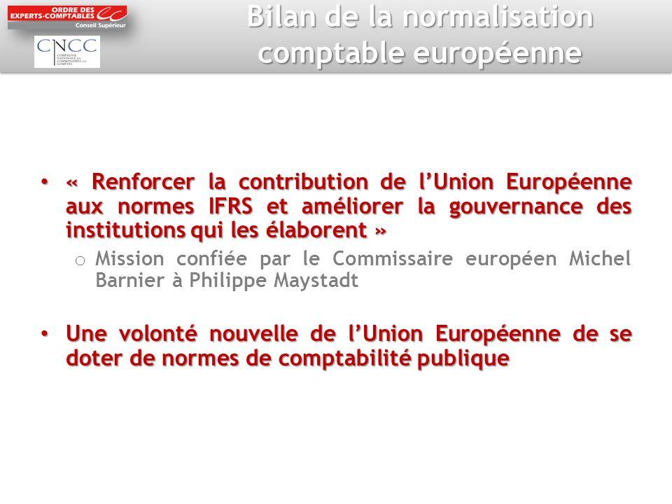 Bilan de la normalisation comptable européenne « Renforcer la contribution de lUnion Européenne aux normes IFRS et améliorer la gouvernance des instit