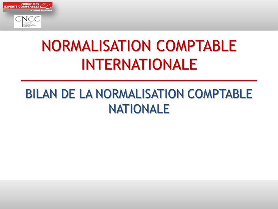 NORMALISATION COMPTABLE INTERNATIONALE BILAN DE LA NORMALISATION COMPTABLE NATIONALE
