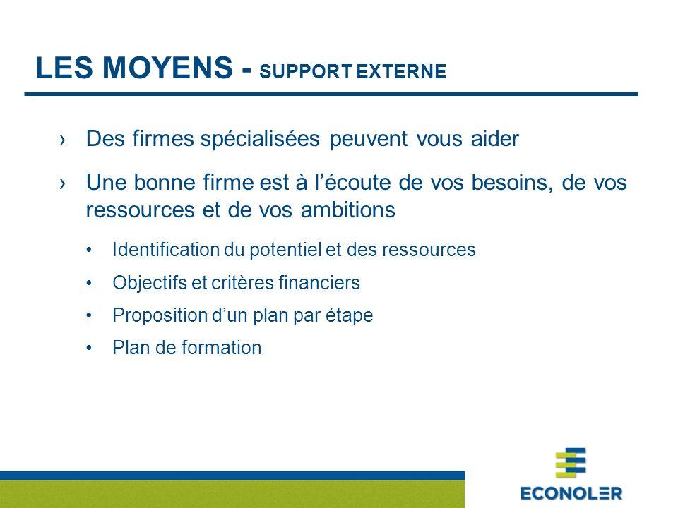 LES MOYENS - SUPPORT EXTERNE Des firmes spécialisées peuvent vous aider Une bonne firme est à lécoute de vos besoins, de vos ressources et de vos ambitions Identification du potentiel et des ressources Objectifs et critères financiers Proposition dun plan par étape Plan de formation