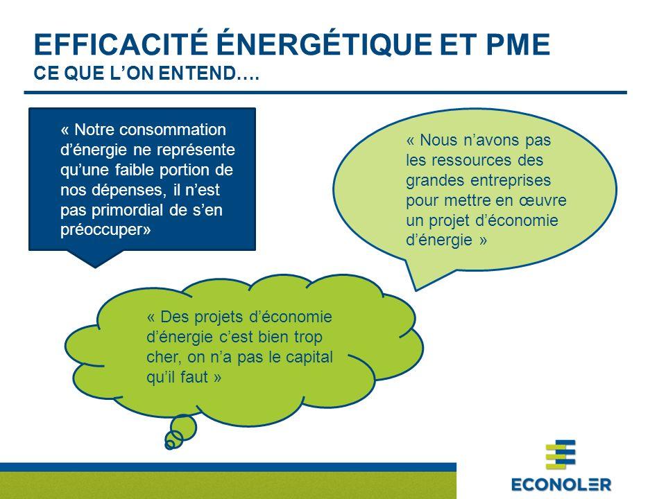 EFFICACITÉ ÉNERGÉTIQUE ET PME CE QUE LON ENTEND…. « Notre consommation dénergie ne représente quune faible portion de nos dépenses, il nest pas primor