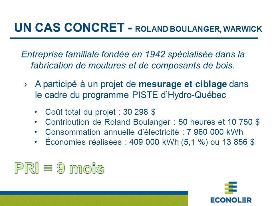 UN CAS CONCRET - ROLAND BOULANGER, WARWICK Entreprise familiale fondée en 1942 spécialisée dans la fabrication de moulures et de composants de bois. A
