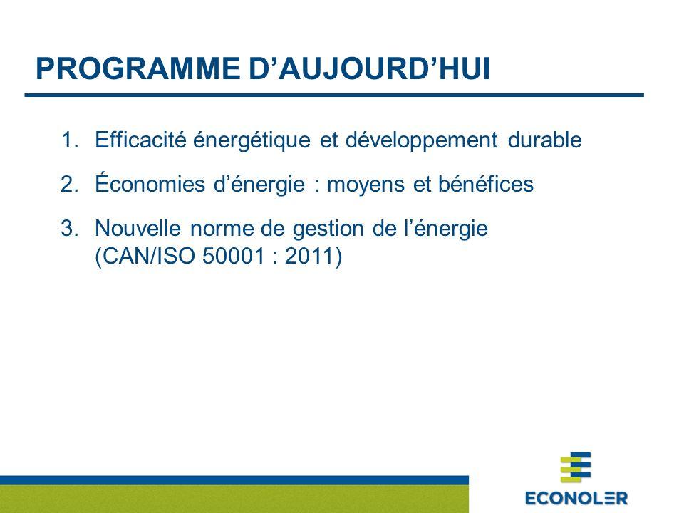PROGRAMME DAUJOURDHUI 1.Efficacité énergétique et développement durable 2.Économies dénergie : moyens et bénéfices 3.Nouvelle norme de gestion de lénergie (CAN/ISO 50001 : 2011)