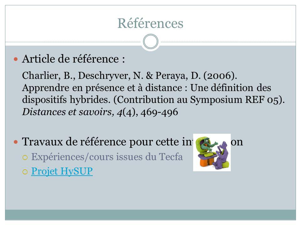 Références Article de référence : Charlier, B., Deschryver, N.