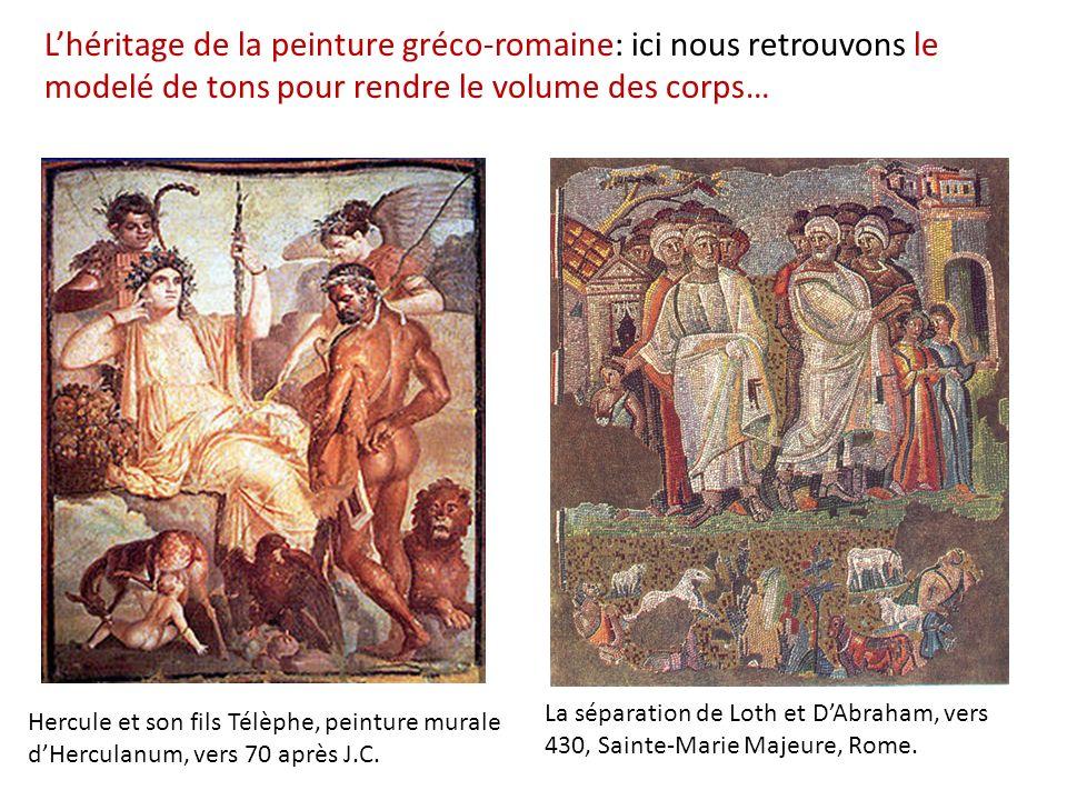 Lhéritage de la peinture gréco-romaine: ici nous retrouvons le modelé de tons pour rendre le volume des corps… Hercule et son fils Télèphe, peinture m