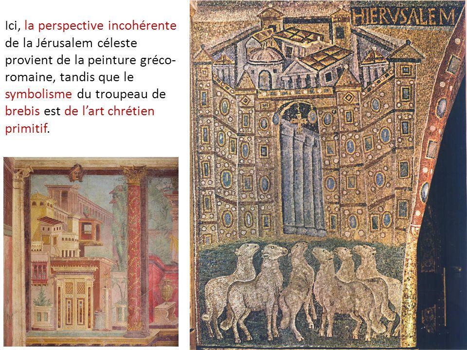 Ici, la perspective incohérente de la Jérusalem céleste provient de la peinture gréco- romaine, tandis que le symbolisme du troupeau de brebis est de