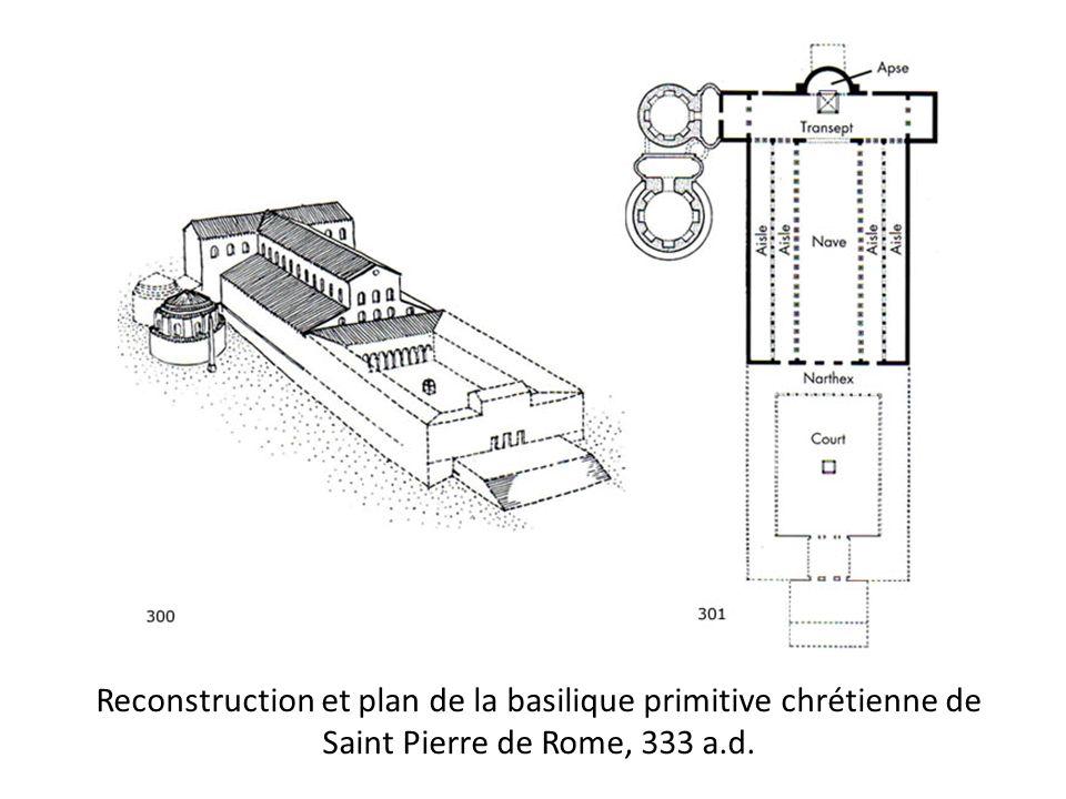 Saint Pierre de Rome, 333 – coupe et plan Lintérieur de la basilique chrétienne primitive