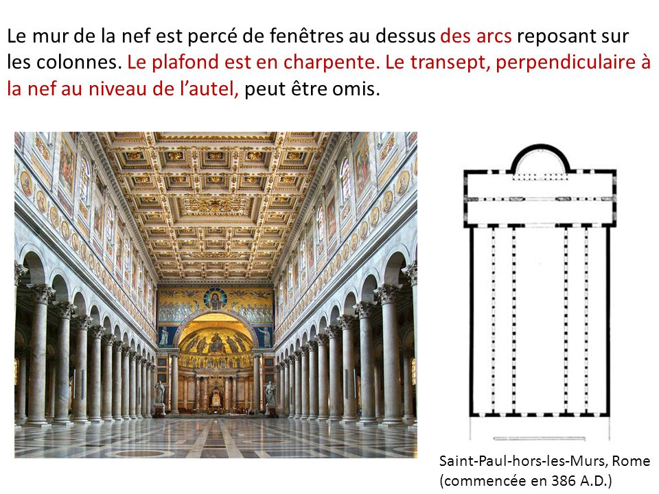 Le mur de la nef est percé de fenêtres au dessus des arcs reposant sur les colonnes. Le plafond est en charpente. Le transept, perpendiculaire à la ne