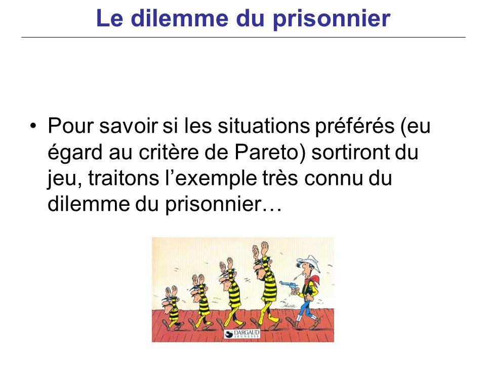 Pour savoir si les situations préférés (eu égard au critère de Pareto) sortiront du jeu, traitons lexemple très connu du dilemme du prisonnier… Le dil