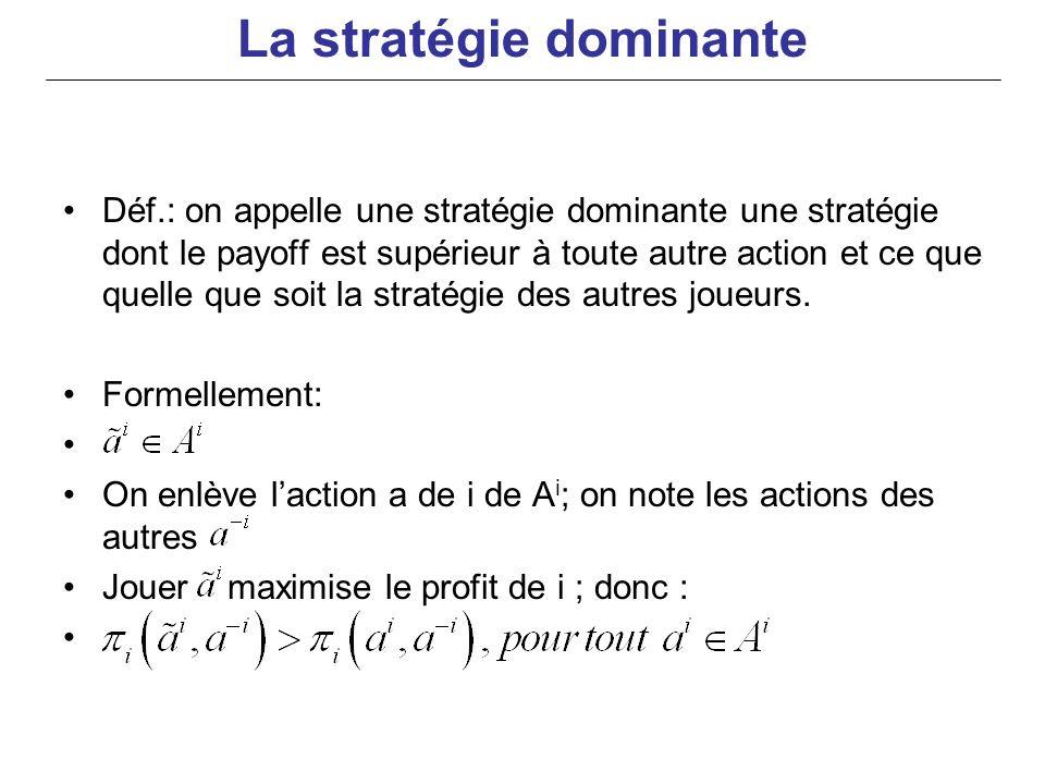 Déf.: on appelle une stratégie dominante une stratégie dont le payoff est supérieur à toute autre action et ce que quelle que soit la stratégie des au