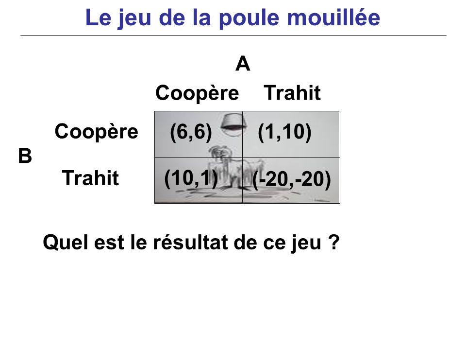Quel est le résultat de ce jeu ? A B (6,6)(1,10) (10,1) (-20,-20) Coopère Trahit CoopèreTrahit Le jeu de la poule mouillée