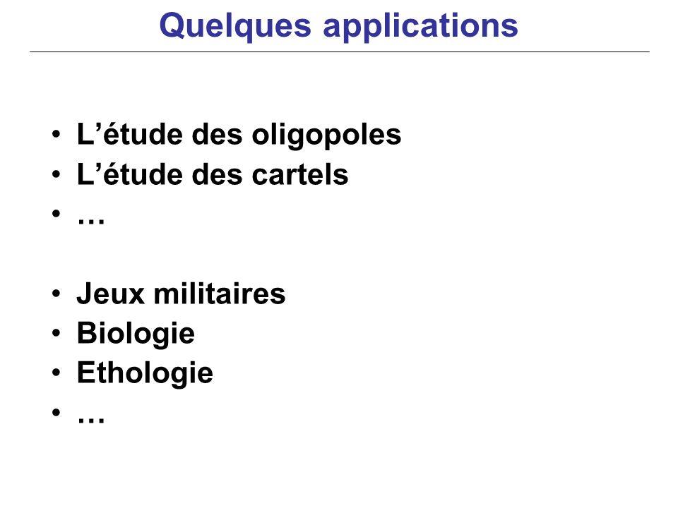 Létude des oligopoles Létude des cartels … Jeux militaires Biologie Ethologie … Quelques applications