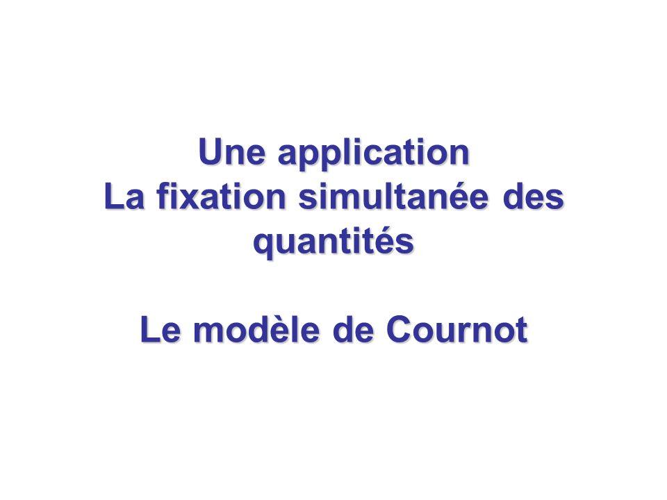 Une application La fixation simultanée des quantités Le modèle de Cournot