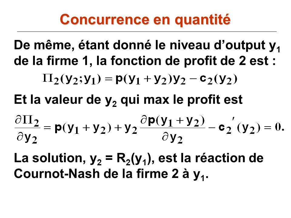 De même, étant donné le niveau doutput y 1 de la firme 1, la fonction de profit de 2 est : Et la valeur de y 2 qui max le profit est La solution, y 2