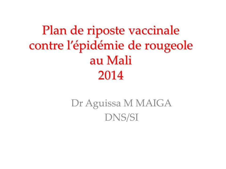 Plan de riposte vaccinale contre lépidémie de rougeole au Mali 2014 Dr Aguissa M MAIGA DNS/SI