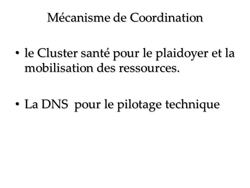 Mécanisme de Coordination le Cluster santé pour le plaidoyer et la mobilisation des ressources.