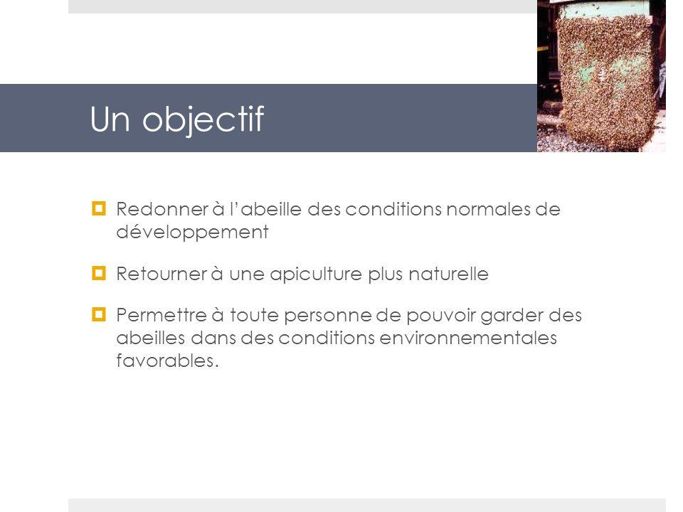 Un objectif Redonner à labeille des conditions normales de développement Retourner à une apiculture plus naturelle Permettre à toute personne de pouvo