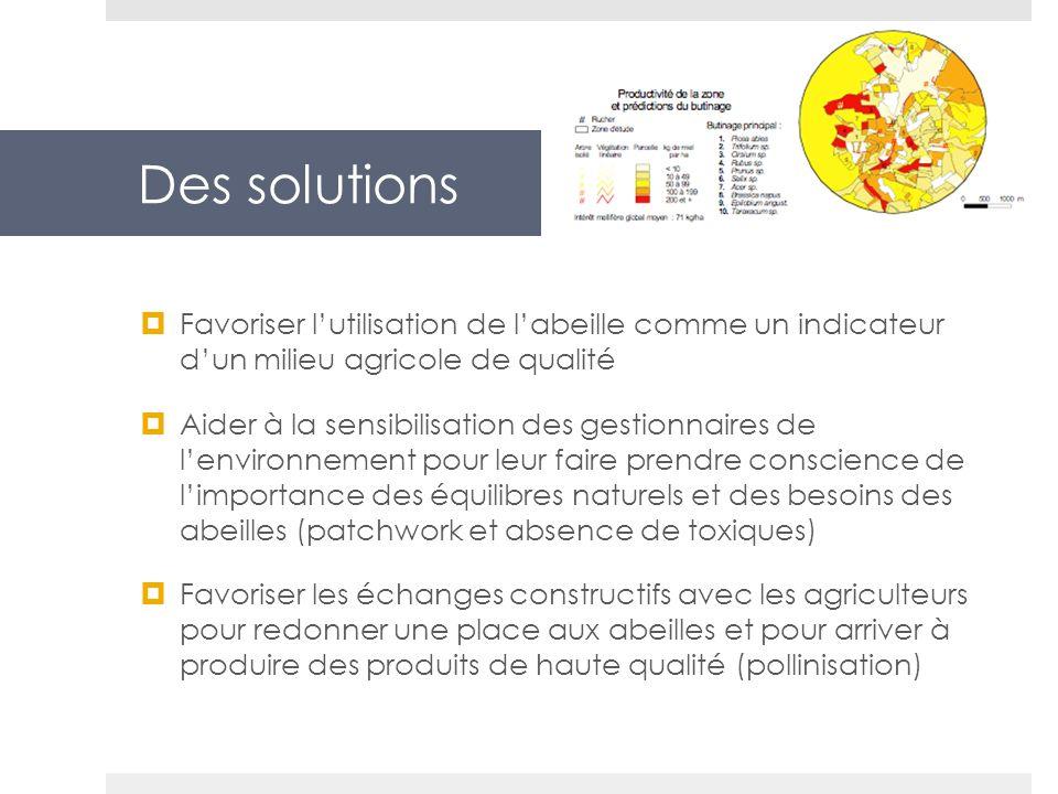 Des solutions Favoriser lutilisation de labeille comme un indicateur dun milieu agricole de qualité Aider à la sensibilisation des gestionnaires de le