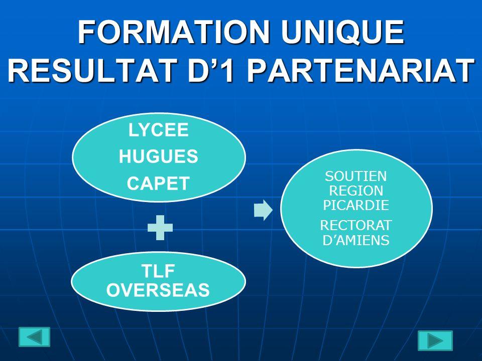 FORMATION UNIQUE RESULTAT D1 PARTENARIAT LYCEE HUGUES CAPET TLF OVERSEAS SOUTIEN REGION PICARDIE RECTORAT DAMIENS