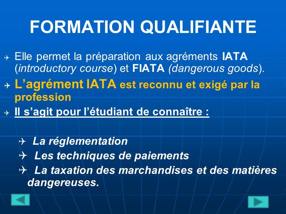 FORMATION QUALIFIANTE Elle permet la préparation aux agréments IATA (introductory course) et FIATA (dangerous goods).
