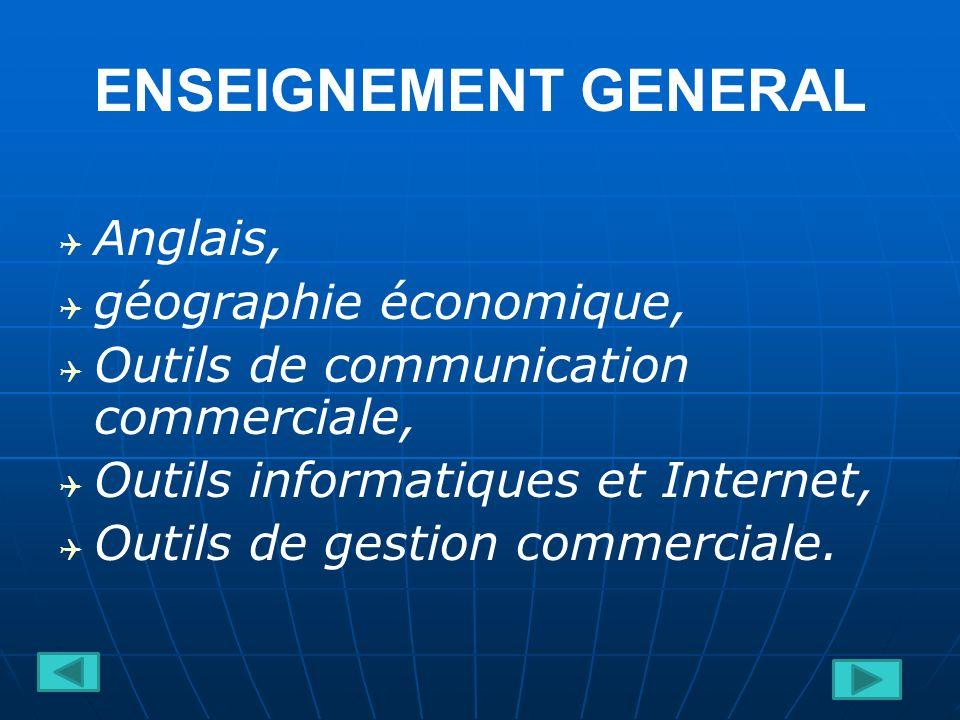 ENSEIGNEMENT GENERAL Anglais, géographie économique, Outils de communication commerciale, Outils informatiques et Internet, Outils de gestion commerciale.