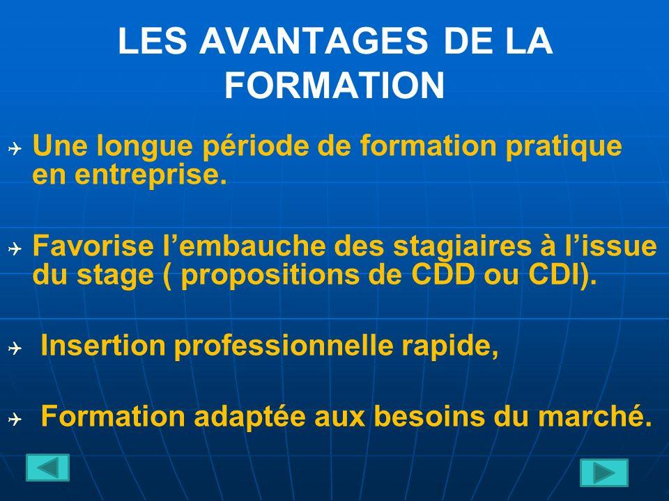LES AVANTAGES DE LA FORMATION Une longue période de formation pratique en entreprise.