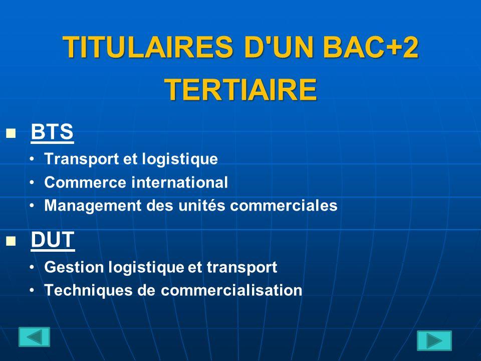 TITULAIRES D UN BAC+2 TERTIAIRE BTS Transport et logistique Commerce international Management des unités commerciales DUT Gestion logistique et transport Techniques de commercialisation