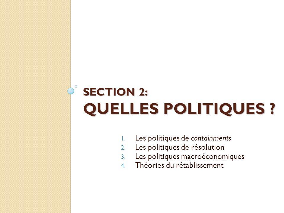 SECTION 2: QUELLES POLITIQUES ? 1. Les politiques de containments 2. Les politiques de résolution 3. Les politiques macroéconomiques 4. Théories du ré