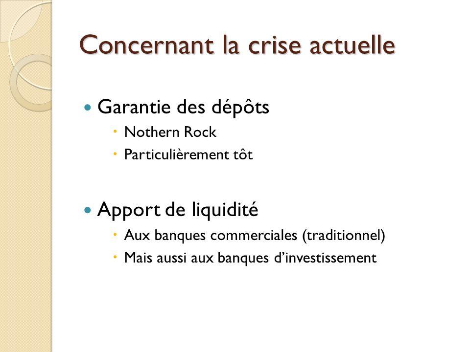 Concernant la crise actuelle Garantie des dépôts Nothern Rock Particulièrement tôt Apport de liquidité Aux banques commerciales (traditionnel) Mais au