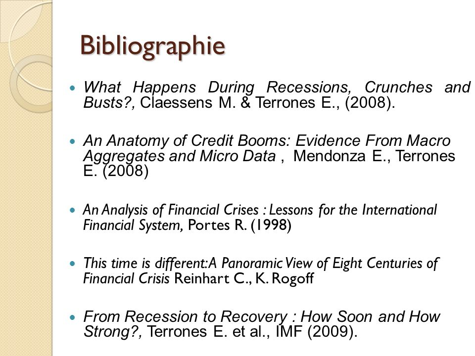 Bibliographie What Happens During Recessions, Crunches and Busts?, Claessens M.