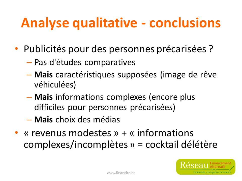 Analyse qualitative - conclusions Publicités pour des personnes précarisées .