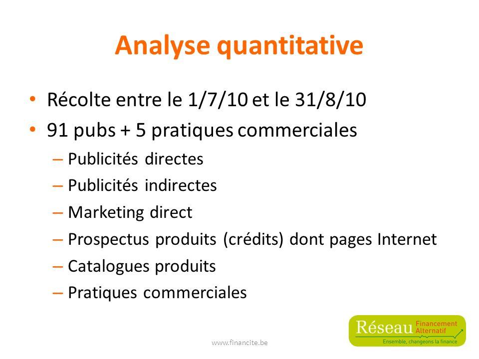 Analyse quantitative Récolte entre le 1/7/10 et le 31/8/10 91 pubs + 5 pratiques commerciales – Publicités directes – Publicités indirectes – Marketin