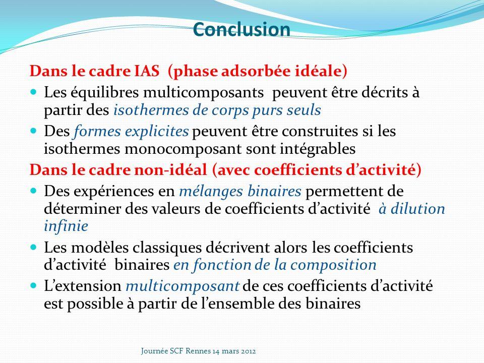 Conclusion Dans le cadre IAS (phase adsorbée idéale) Les équilibres multicomposants peuvent être décrits à partir des isothermes de corps purs seuls Des formes explicites peuvent être construites si les isothermes monocomposant sont intégrables Dans le cadre non-idéal (avec coefficients dactivité) Des expériences en mélanges binaires permettent de déterminer des valeurs de coefficients dactivité à dilution infinie Les modèles classiques décrivent alors les coefficients dactivité binaires en fonction de la composition Lextension multicomposant de ces coefficients dactivité est possible à partir de lensemble des binaires Journée SCF Rennes 14 mars 2012