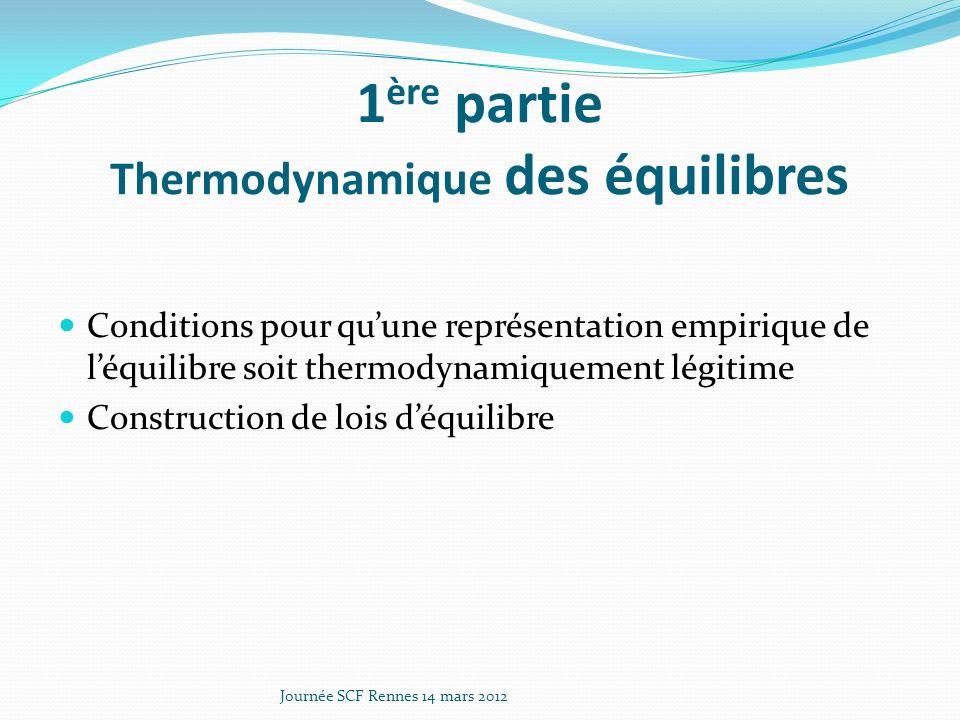 1 ère partie Thermodynamique des équilibres Conditions pour quune représentation empirique de léquilibre soit thermodynamiquement légitime Construction de lois déquilibre Journée SCF Rennes 14 mars 2012