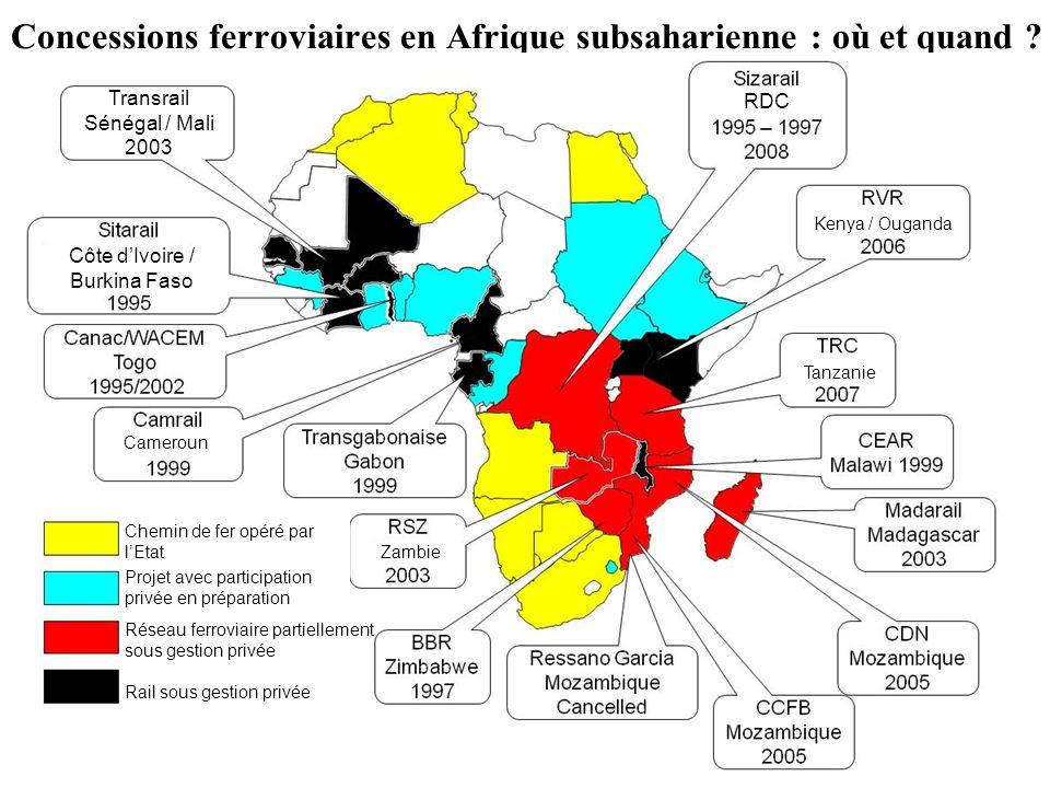 Concessions ferroviaires en Afrique subsaharienne : où et quand ? RDC Transrail Sénégal / Mali 2003 Côte dIvoire / Burkina Faso Cameroun Tanzanie Zamb